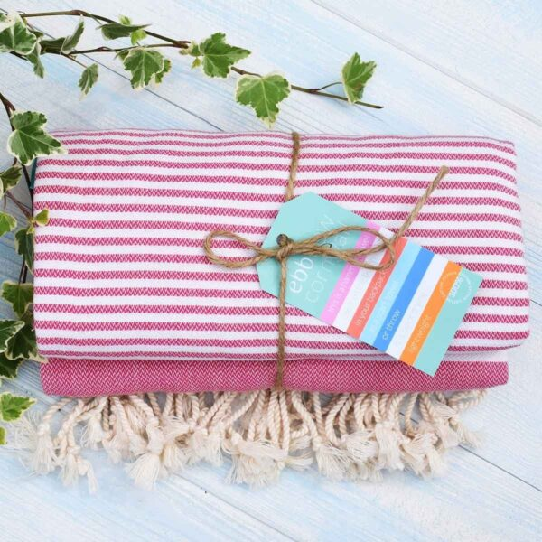 Ebb Flow Cornwall Pink Turkish Towel Quick Dry Hammam Towel Tied Up With Label