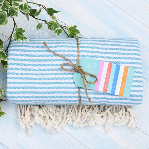 Ebb Flow Cornwall Blue Turkish Towel Quick Dry Hammam Towel Tied Up With Label