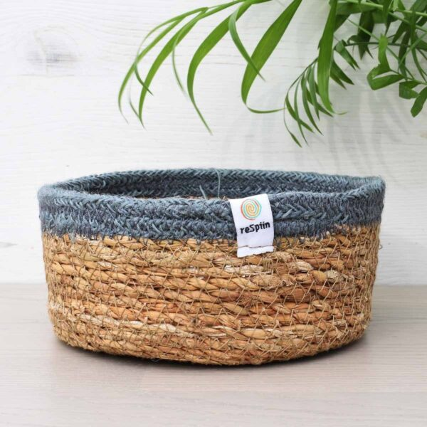 ReSpiin Small Grey Jute & Seagrass Storage Basket