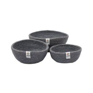 ReSpiin Grey Jute Mini Bowl Set