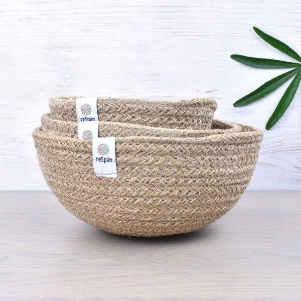ReSpiin Natural Mini Jute Bowl Set Of 3