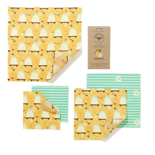 The Beeswax Wrap Co Beehive Print Beeswax Wraps Large Kitchen Pack
