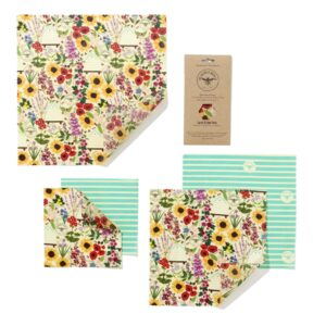 The Beeswax Wrap Co Floral Print Beeswax Wraps Large Kitchen Pack