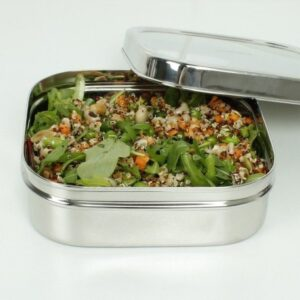 A Slice of Green Large Stainless Steel Square Food Container Open