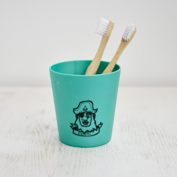Hydrophil Green Children's Liquid Wood Toothbrush Mug With Wooden Toothbrushes