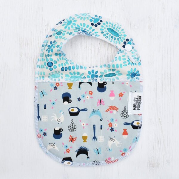 Marley's Monsters Baby Bib With Cooking Theme Print