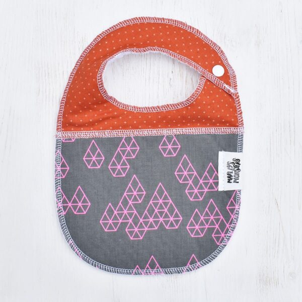 Marley's Monsters Baby Bib With Geometric Pattern