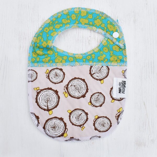 Marley's Monsters Baby Bib With Logs & Butterflies Print