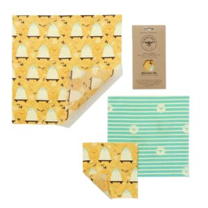 The Beeswax Wrap Co Beeswax Wraps Medium Kitchen Pack Beehive Print