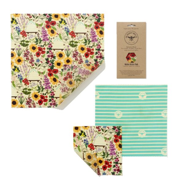 The Beeswax Wrap Co Beeswax Wraps Medium Kitchen Pack Floral Print