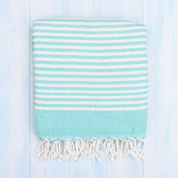 Ebb Flow Cornwall Mint Green Turkish Towel Chunky Hendra Weave
