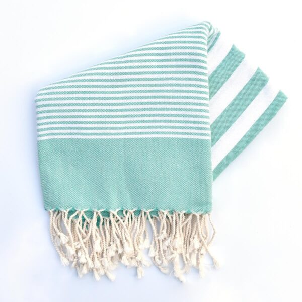 Ebb Flow Cornwall Turkish Towel Quick Dry Chappie Hammam Towel Unfolded Mint Green