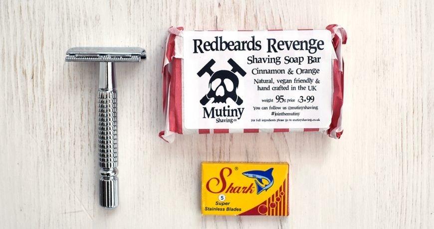 Safety razor, shark safety blades and mutiny shaving soap set