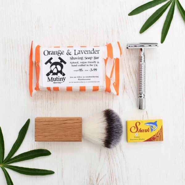 Mutiny Safety Razor Kit With Orange & Lavender Shaving Soap, Shaving Brush And Blades