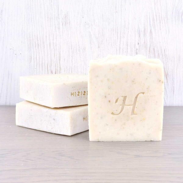 Hatton Soap bars, honey and oatmeal soap bar , vegan friendly, plastic-free, set of soap bars stacked,