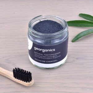 Georganics Toothpowder , dental care, dental hygiene, vegan friendly, toothpowder, whitening toothpowder, toothpowder jar with toothbrush, charcoal,