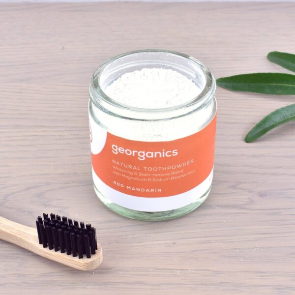 Georganics Toothpowder , dental care, dental hygiene, vegan friendly, toothpowder, whitening toothpowder, toothpowder jar with toothbrush, red mandarin,