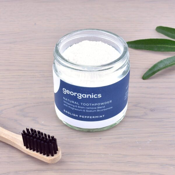 Georganics Toothpowder , dental care, dental hygiene, vegan friendly, toothpowder, whitening toothpowder, toothpowder jar with toothbrush, peppermint,