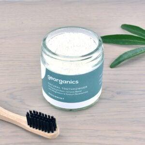 Georganics Toothpowder , dental care, dental hygiene, vegan friendly, toothpowder, whitening toothpowder, spearmint, toothpowder jar with toothbrush,