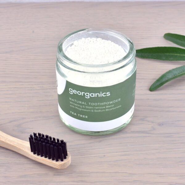 Georganics Toothpowder , dental care, dental hygiene, vegan friendly, toothpowder, whitening toothpowder, toothpowder jar with toothbrush, tea tree,