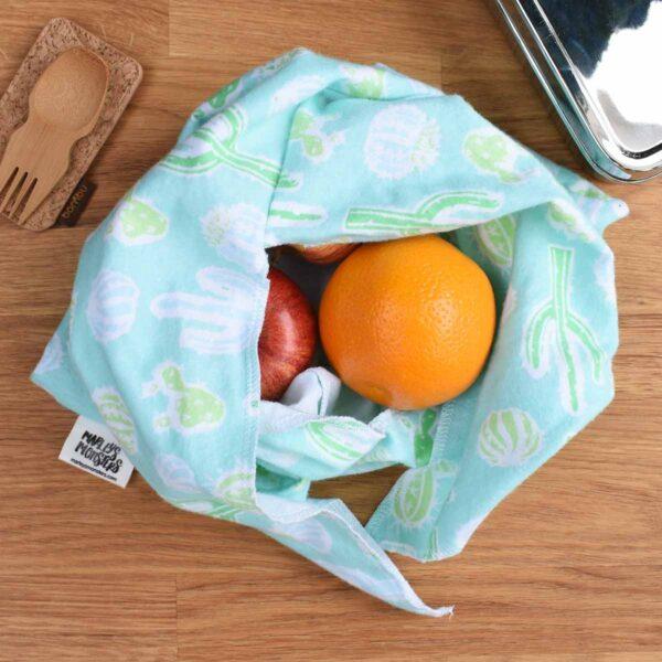 Marleys Monsters Cactus Print Medium Sized Bento Bag Open Full of Fruit