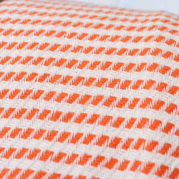 Ebb Flow Cornwall Orange Turkish Hammam Towel Cosy Logan Weave Close Up