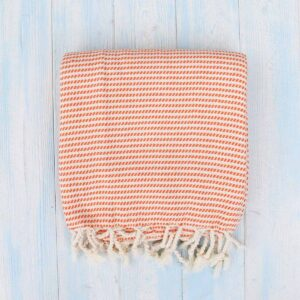 Ebb Flow Cornwall Orange Turkish Hammam Towel Cosy Logan Weave