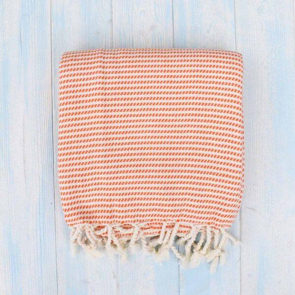 Ebb Flow Cornwall Orange Turkish Hammam Towel Cosy Logan Weave