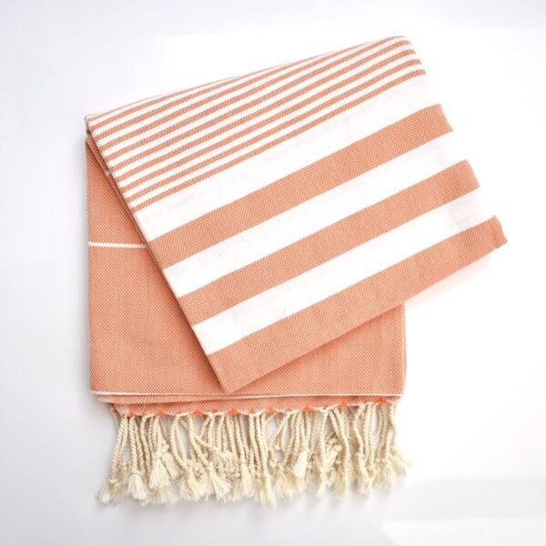 Ebb Flow Cornwall Orange Turkish Towel Quick Dry Chappie Hammam Towel Unfolded