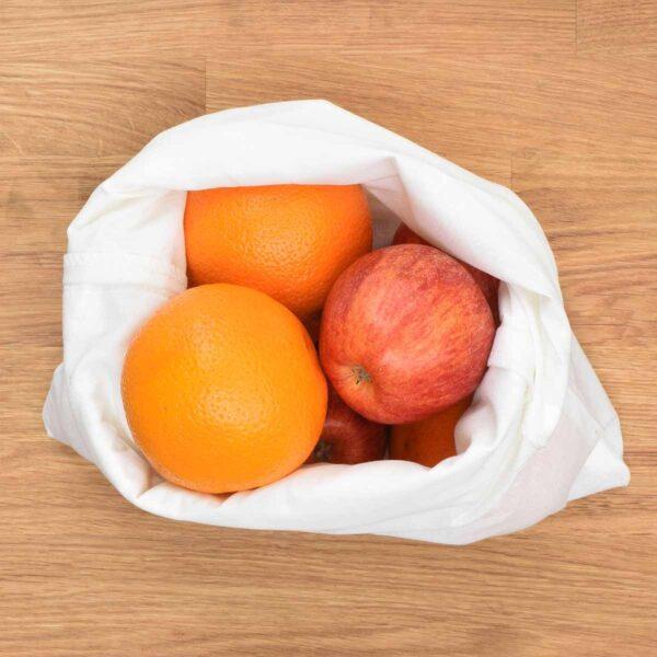 Tabitha Eve Extra Large Organic Cotton Drawstring Bag Filled With Fruit