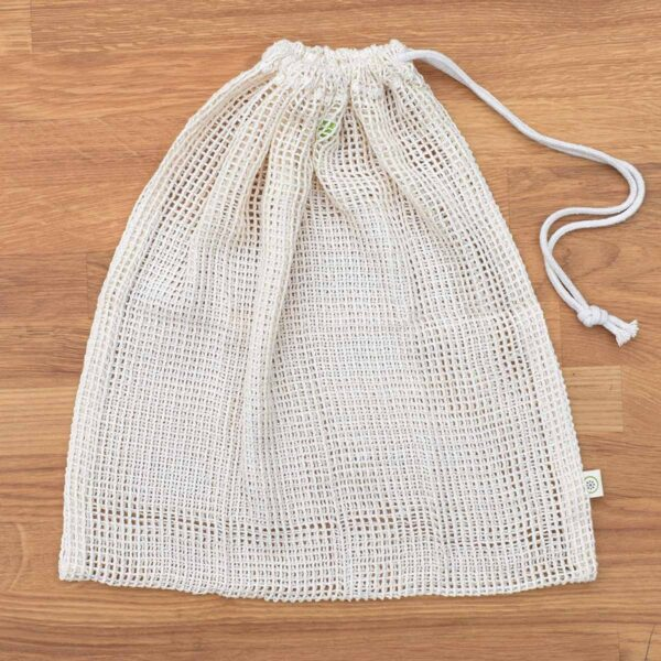 A Slice of Green Large Organic Cotton Net Produce Bag With Drawstring Pulled Closed