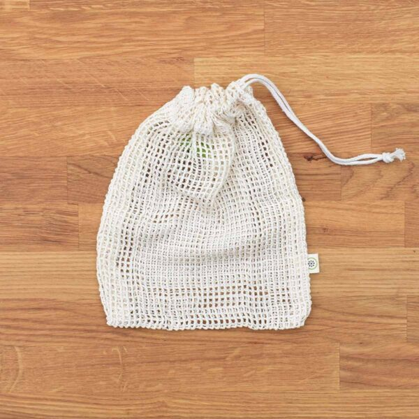 A Slice of Green Small Organic Cotton Net Produce Bag With Drawstring Close