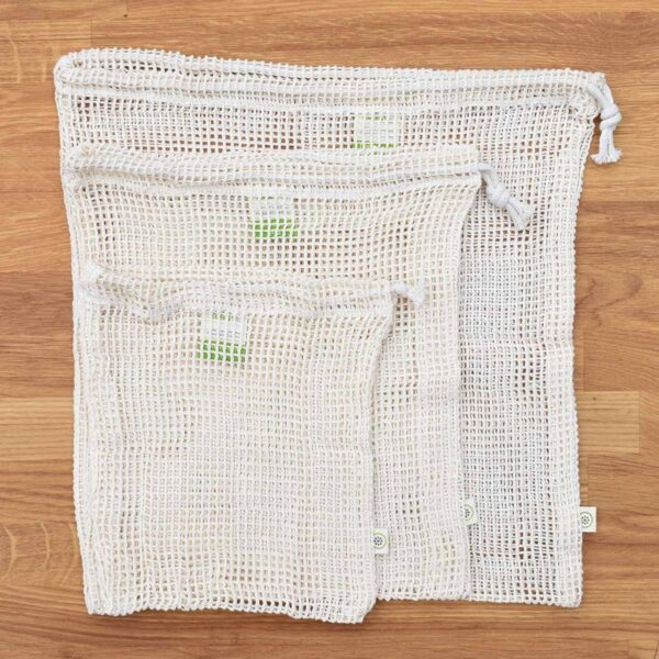 A Slice of Green Set of 3 Organic Cotton Net Produce Bags