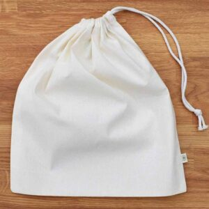 A Slice of Green Large Sized Organic Cotton Produce Bag With Drawstring Close