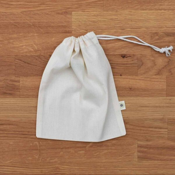 A Slice of Green Small Organic Cotton Produce Bag With Drawstring Close
