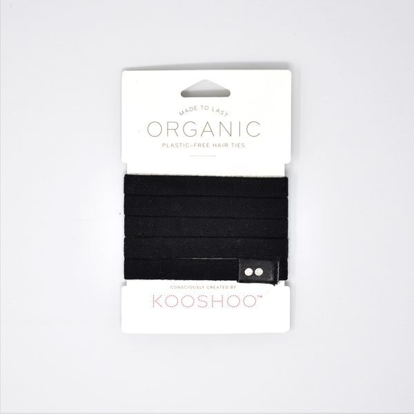 KooShoo Set of 5 Organic Cotton Black Coloured Hair Ties