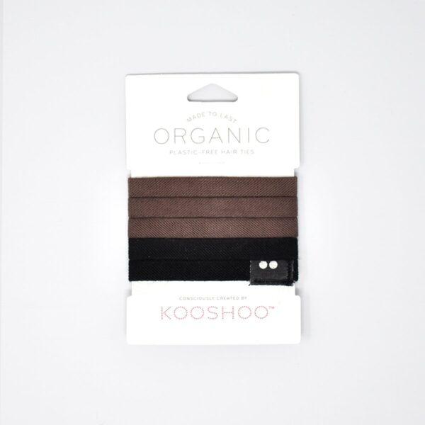 KooShoo Set of 5 Organic Cotton Brown & Black Hair Ties