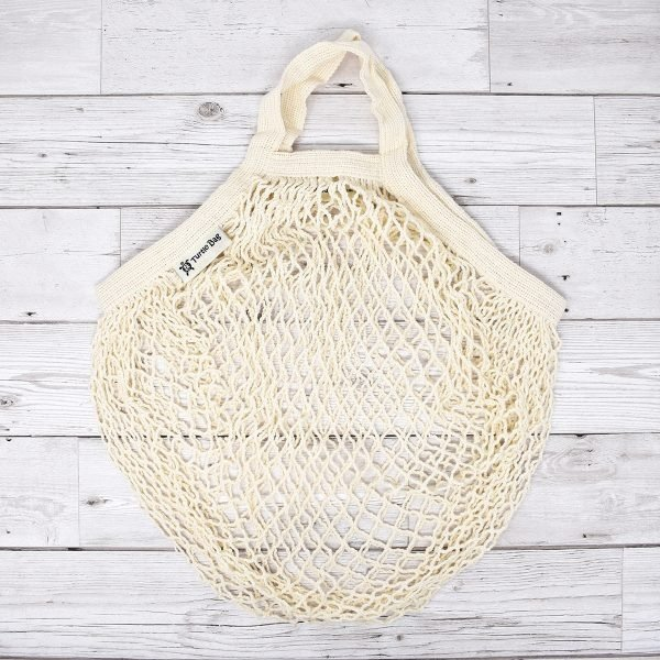 Turtle Bags White Short Handle Organic Cotton String Bag