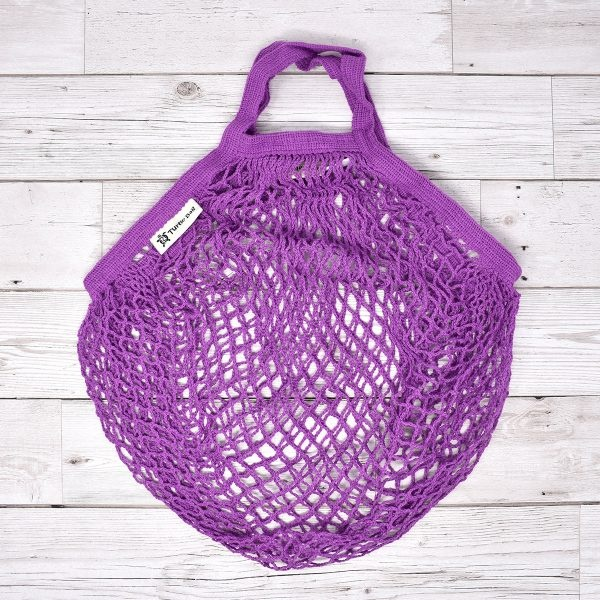 Turtle Bags Purple Short Handle Organic Cotton String Bag