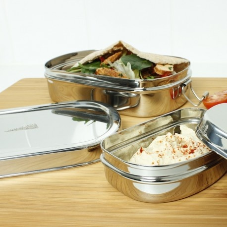 A Slice of Green Stainless Steel Oval Lunch Box with Mini Container Both Open With Food Inside