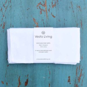 Vesta Living White Reusable Baby Wipes With Packaging