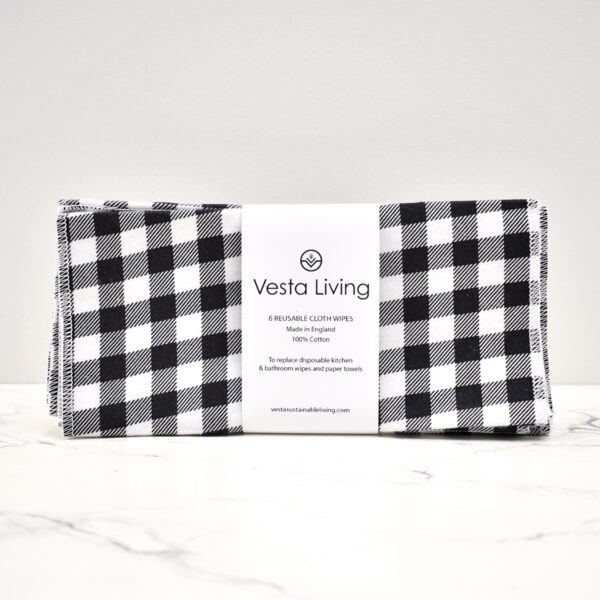 Vesta Living Reusable Cloth Wipes Checked Pattern