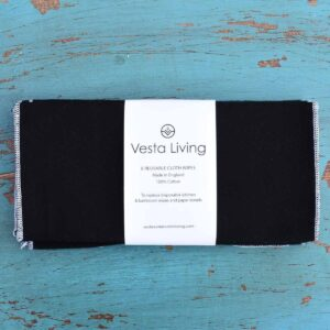 Vesta Living Reusable Cloth Wipes Black In Packaging