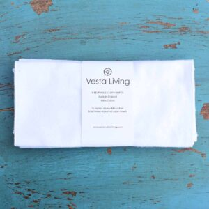 Vesta Living White Reusable Cloth Wipes In Packaging