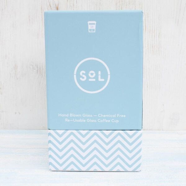 Sol Cool Cyan Glass Coffee Cup 16oz Box