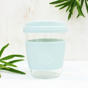 Sol Cool Cyan Glass Coffee Cup