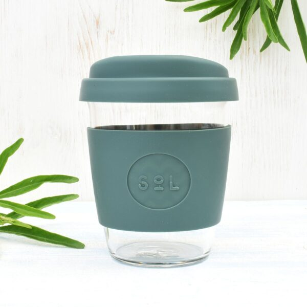 Sol Deep Sea Green Glass Coffee Cup