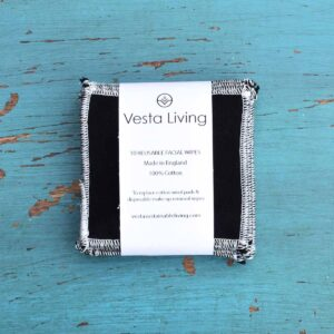Vesta Living black reusable facial rounds in packaging