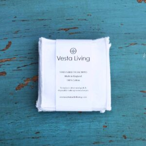 Vesta Living white reusable facial rounds in packaging
