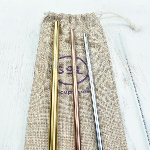SoL Stainless Steel Straws With Cleaner & Travel Bag